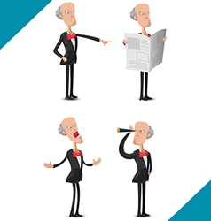 Old Man Worker Character Set vector image vector image