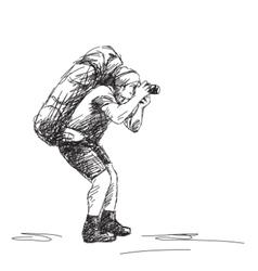 photographer backpacker vector image