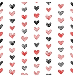 Seamless Pattern With Doodle Valentine Hearts vector image