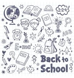 Back to School doodle set with cartoon subjects vector image