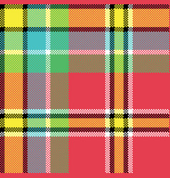check fabric texture square pixel seamless pattern vector image vector image
