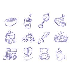 children doodle toys and dolls sketch vector image