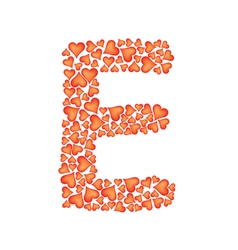 letter e made of valentines vector image vector image