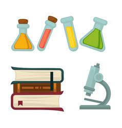 Science chemistry book or beakers and biology vector