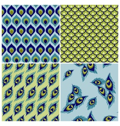 Set of Seamless Backgrounds - Peacock vector image vector image
