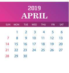 2019 calendar template - april vector image