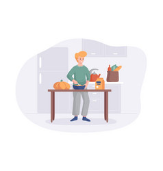 Adorable man cooking on kitchen table cartoon vector