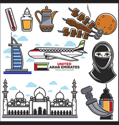 arab emirates uae culture and muslim travel vector image