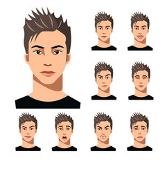 attractive haired young man on different face vector image