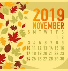 Autumnfall months calendar 2019 template vector