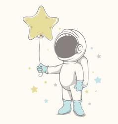Baby astronaut holds a balloon vector
