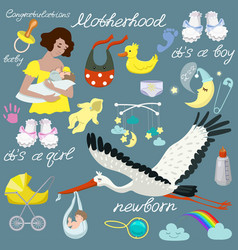 Baby set various items for care set vector