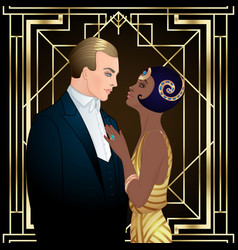 Beautiful multiracial couple in art deco style vector