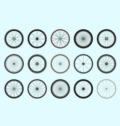 bicycle wheels with spokes geometric tracery set vector image