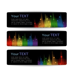 Black banners with abstract multicolored equalizer vector