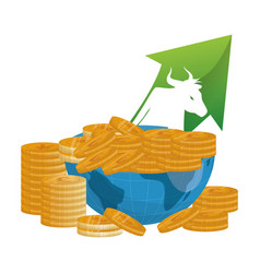 Bull wall street money coins vector