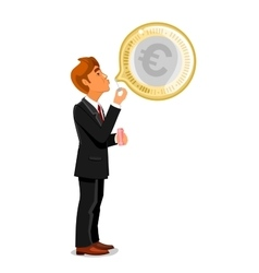 Businessman inflating a bubble with euro vector
