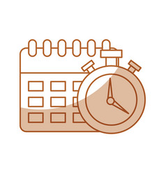 Calendar reminder with chronometer isolated icon vector
