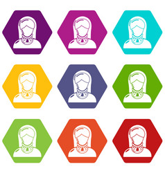 Cervical retainer icons set 9 vector