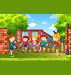 children playing outside scene vector image
