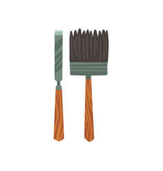 Chisel and brush archeology equipment vector