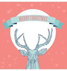 Christmas deer on pink background vector
