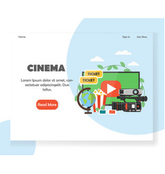 cinema website landing page design template vector image