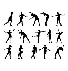 collection of silhouettes of dancing girls vector image