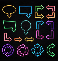 color glowing neon arrows isolated on black wall vector image