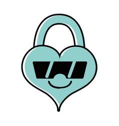 Color happy heart padlock kawaii with sunglasses vector