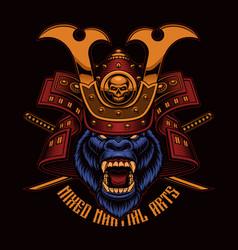 colorful a gorilla samurai vector image