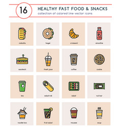 Colorful icons with line for healthy fast food vector