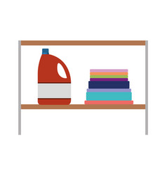 Colorful silhouette of rack with bleach clothes vector