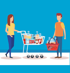 couple with shopping cart and basket vector image