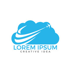creative cloud travel logo design vector image