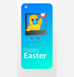 Cute chick in mask using mobile app happy easter vector