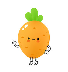 Cute funny carrot vegetable with face vector