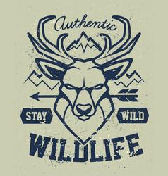 Deer mascot grunge emblem design vector