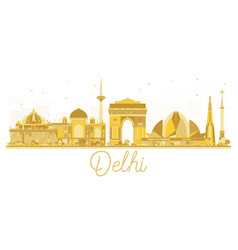 Delhi india city skyline golden silhouette vector
