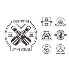 Diving school deep water promo monochrome emblems vector
