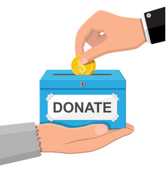 Donation box with golden coins vector