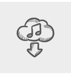 Downloading music sketch icon vector