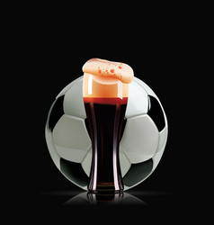 elegant beer glass and soccer ball photo vector image