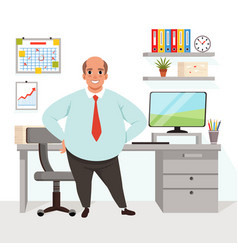 Fat bald man in office worker in formal clothing vector