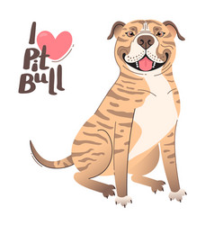 Fawn brindle brown american staffordshire pit bull vector