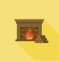 fire and fireplace icon with long shadow with fire vector image