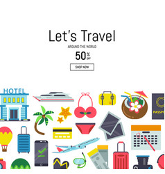 flat travel elements background vector image