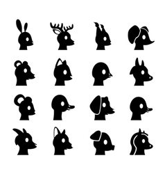 Glyph animals heads vector image