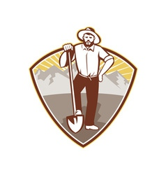 Gold Digger Miner Prospector Shield vector