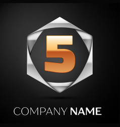 gold number five logo symbol in silver hexagonal vector image